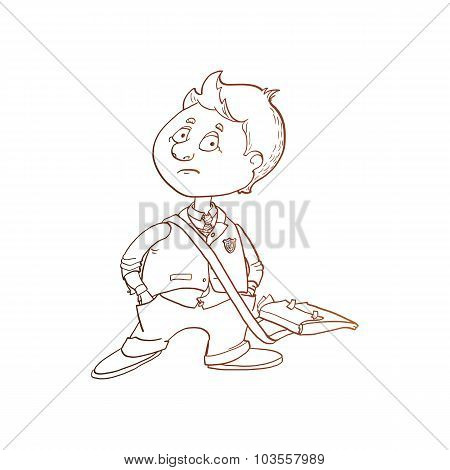 Schoolboy Character Vector Sketch