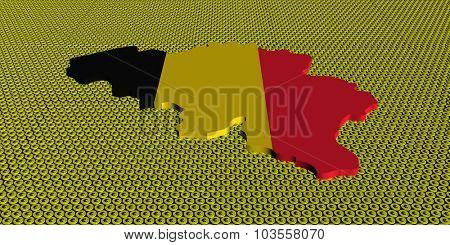 Belgium map flag on golden euros coins illustration