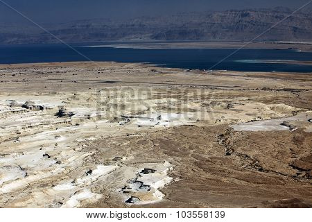 Dead Sea And Jordan Mt, View Of Ancient City Masada, Israel