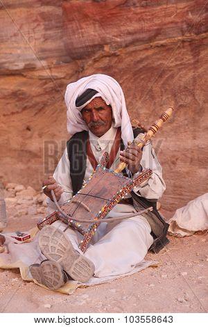 Jordan - November 3: Arab Musician In Petra, Jordan. Petra Is Th