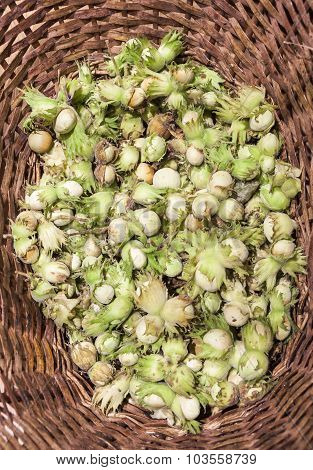 Fresh Nuts In Caneworked Basket