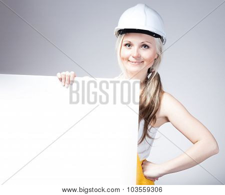 Young Builder Craftswoman Construction Worker, Empty Frame
