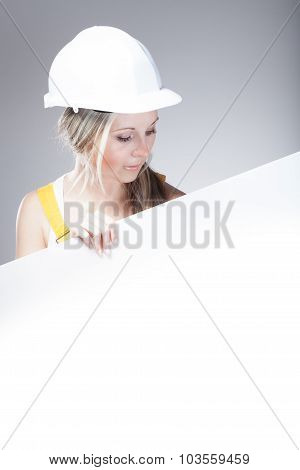 Young Builder Craftswoman Construction Worker, Empty Poster