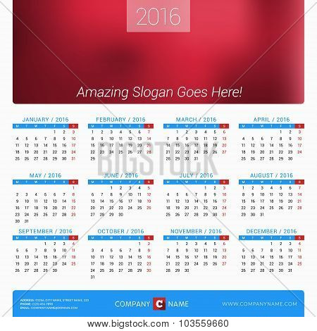 Calendar For 2016 Year. Vector Design Print Template With Place For Photo, Company Logo And Contact