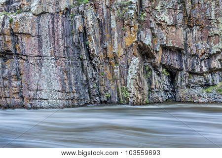 rock cliff and whitewater river - Cache la Poudre River at Little Narrows near Fort Collins, Colorado