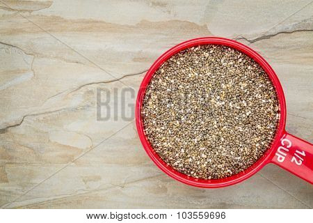 chia seeds in a red measuring cup against slate rock background, top view