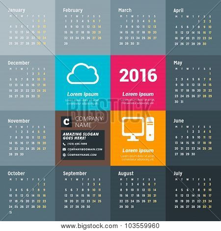 Calendar For 2016 Year. Vector Design Print Template With Technology Icons, Company Logo And Contact