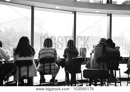 SHENZHEN, CHINA - JAN 11: Starbucks Cafe interior on January 11, 2015. Starbucks Corporation is an American global coffee company and coffeehouse chain based in Seattle, Washington
