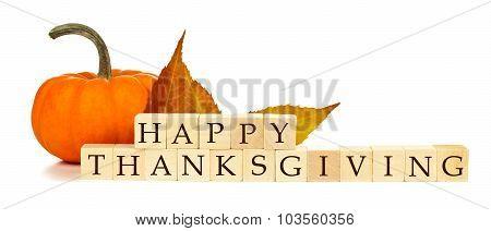 Happy Thanksgiving wooden blocks autumn decor over white