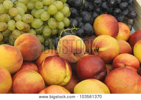 Peach and grape