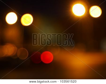 Abstract Blur Image Of Round Spots Of Bright Multicolored Lights