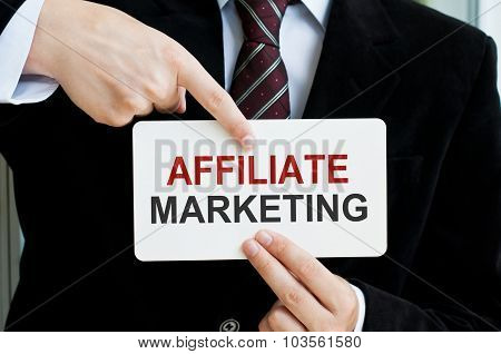 Affiliate Marketing Card In Male Hands