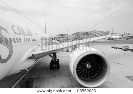 DUBAI, UAE - JUNE 23, 2015: Emirates Boeing 777 in Dubai International Airport . Emirates handles major part of passenger traffic and aircraft movements at the airport.
