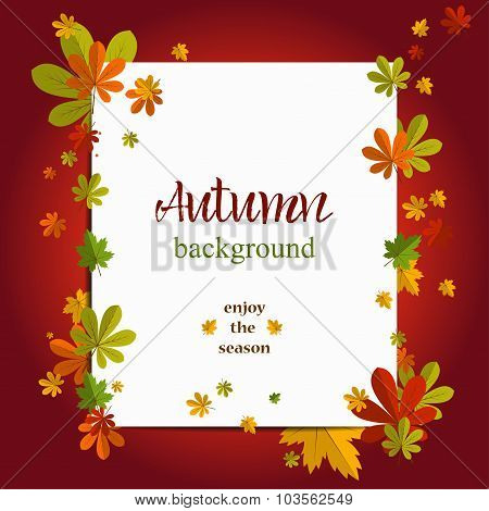 Seasonal background with maple leaves. Copy space. Vector Illustration of an Autumn Design with Autu