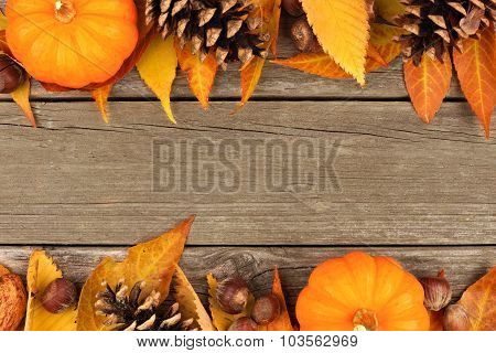 Autumn double border on rustic wood