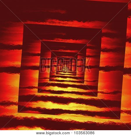 Perspective Red Fire Square Spiral Pattern Texture