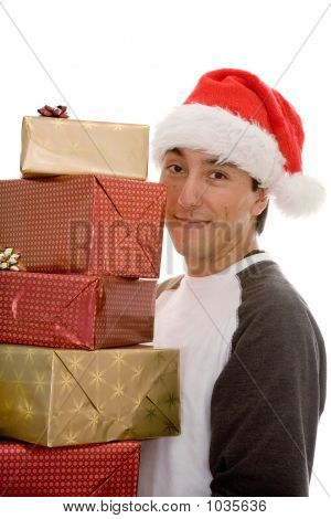 Santa Claus With Lots Of Presents