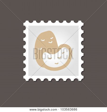 Potato stamp. Outline vector illustration
