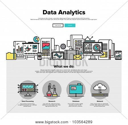 Data Analytics Flat Line Web Graphics