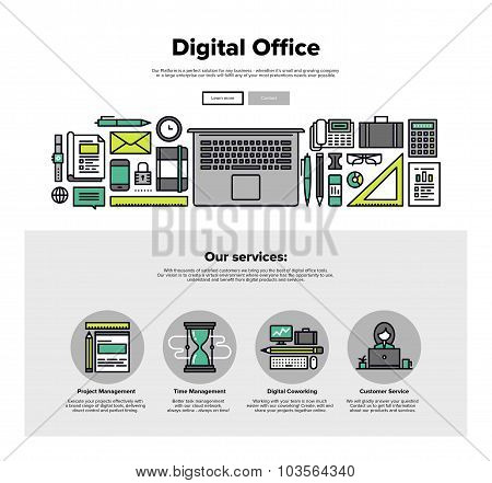 Digital Office Flat Line Web Graphics