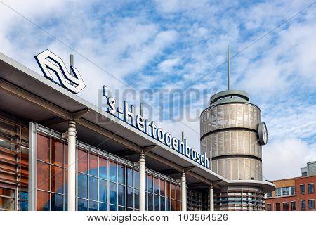 Facade Of Dutch Railway Station Den Bosch, The Netherlands