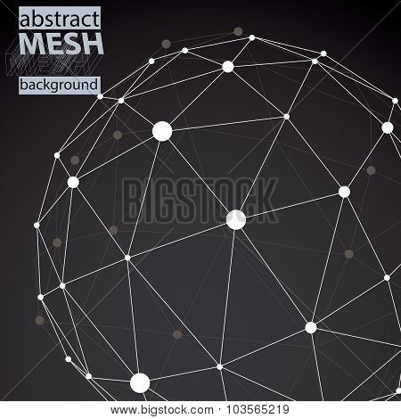 Vector Digital 3D Abstraction, Lattice Geometric Polygonal Template, Perspective Chaotic Wireframe