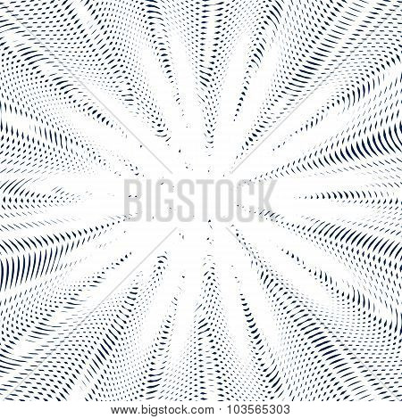 Optical Illusion, Creative Black And White Graphic Moire Backdrop. Decorative Lined Hypnotic