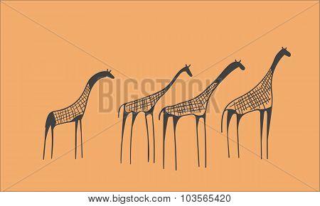 petroglyph herd of giraffes