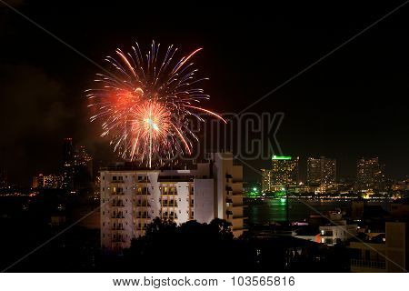 Fireworks Exploding At Pattaya City
