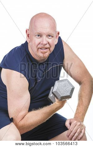 Fit Senior Man Doing Weight Training