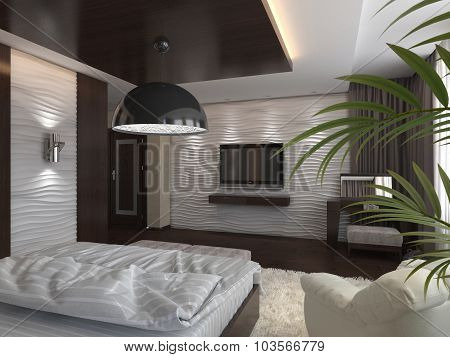 3D Render Modern Bedroom In A Private House