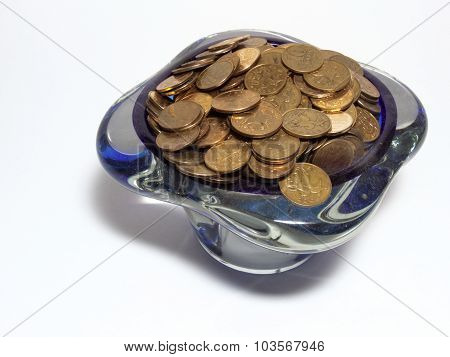 Vase, full of small coins