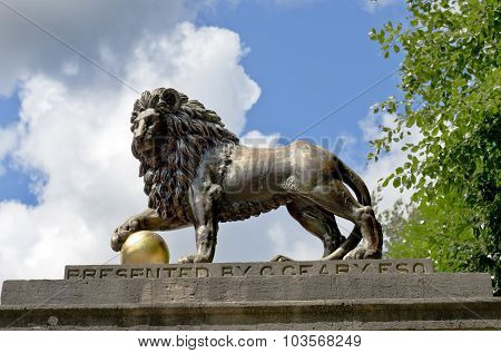Lion Statue On Royal Avenue In Bath, Somerset, England