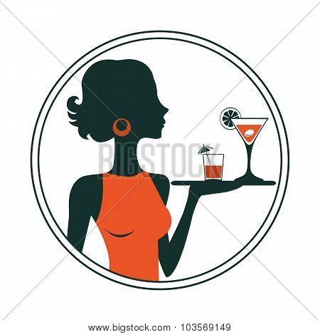 An illustration of a waitress holding cocktails