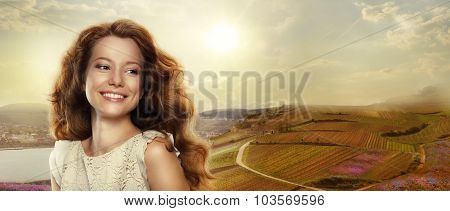 Young Happy Woman With Winning Smile Outdoors