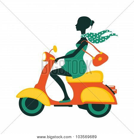 Pregnant woman driving scooter