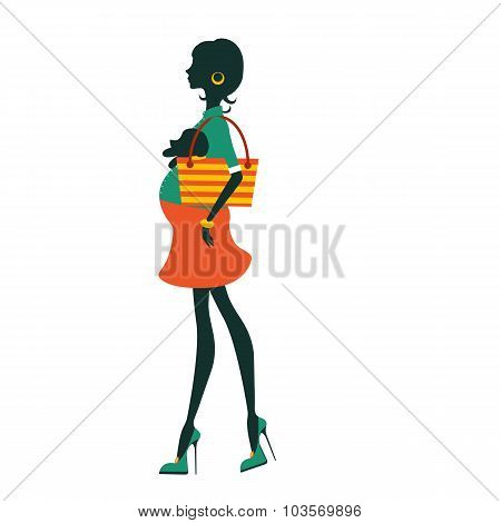 Fashionable silhouette mom-to-be holding little dog in a bag