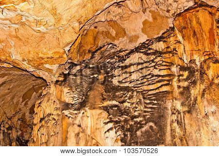 Limestone Formations On The Wall Of An Underground Cave.