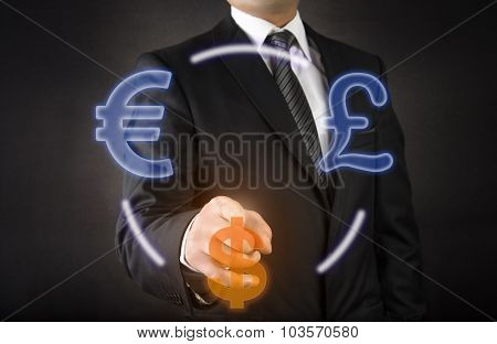 Businessman Currency Selection
