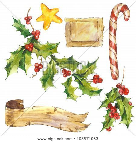 Watercolor Merry Christmas set, Holly, ribbon, candy