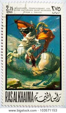 Ras Al Khaima - Circa 1969: A Stamp Printed By Ras Al Khaima Shows A Picture Of Artist Jacque Lui Da