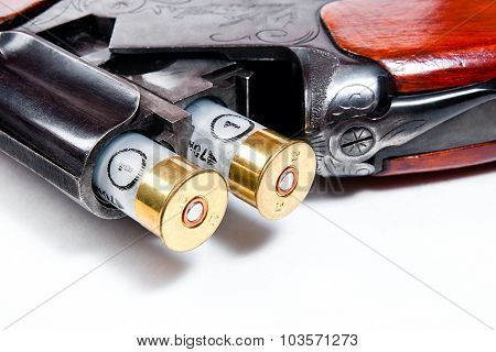 Hunting Shotgun And Ammunition On White Background.
