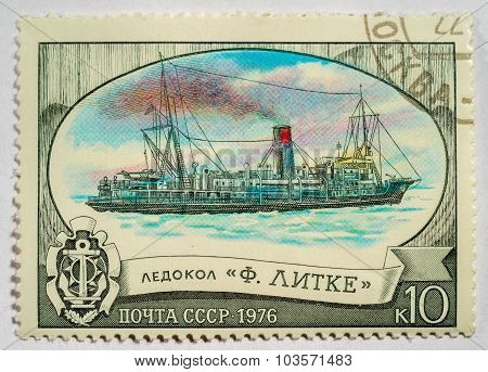 Ussr - Circa 1976:a Postage Stamp Shows Russian Icebreaker
