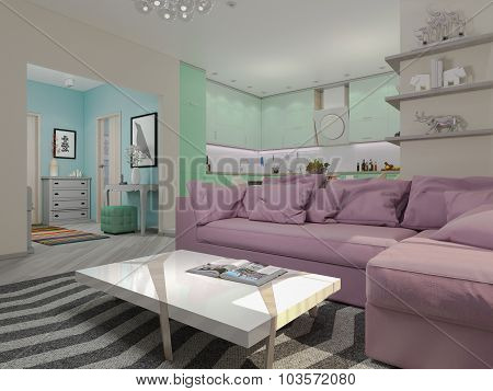 3D Illustration Of Small Apartments In Pastel Colors. Green Modern Kitchen, Living Room, Lobby