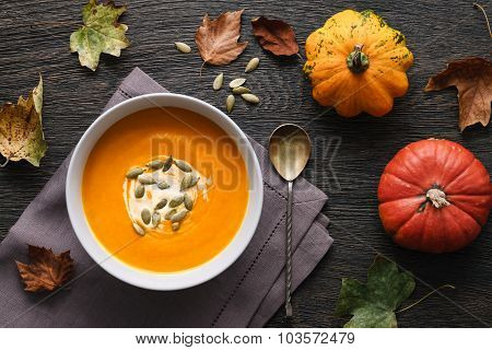 Pumpkin Soup Among The Leaves