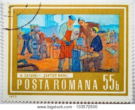 Moscow, Russia - October 3, 2015: A Stamp Printed In Romania Shows Shipyard Workers, Painting By Hen