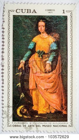 Moscow, Russia - October 3, 2015: Post Stamp Printed In Cuba Shows St. Catherine Of Alexandria (mart