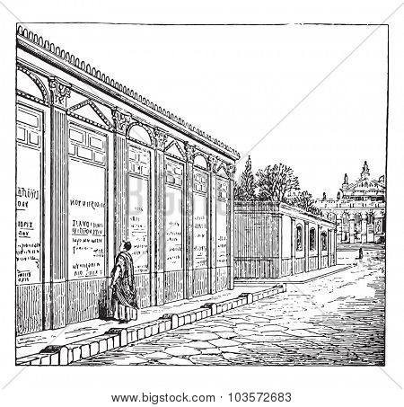 Showing ads in Pompeii, vintage engraving.