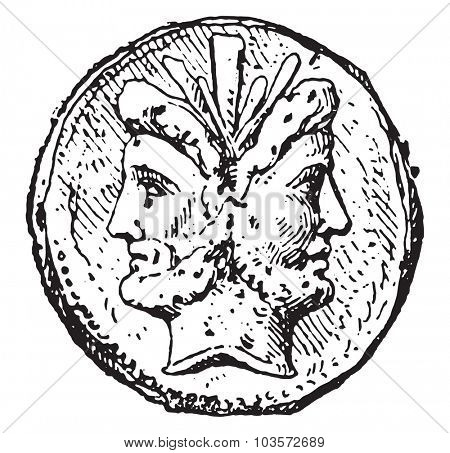 Janus, vintage engraved illustration.