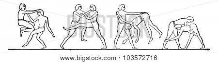 Egyptian wrestlers, vintage engraved illustration.